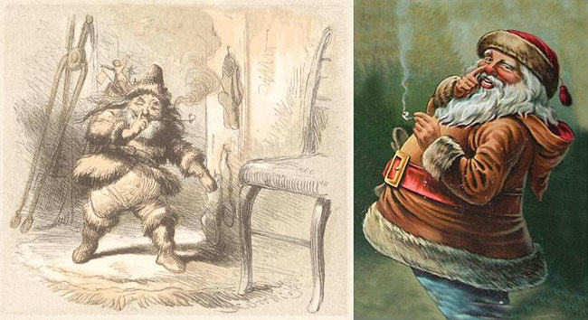 santa wears fur, santa, fur, christmas, Thomas Nast