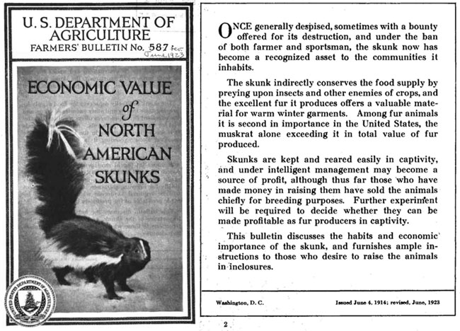 skunk fur, USDA, Farmers' Bulletin