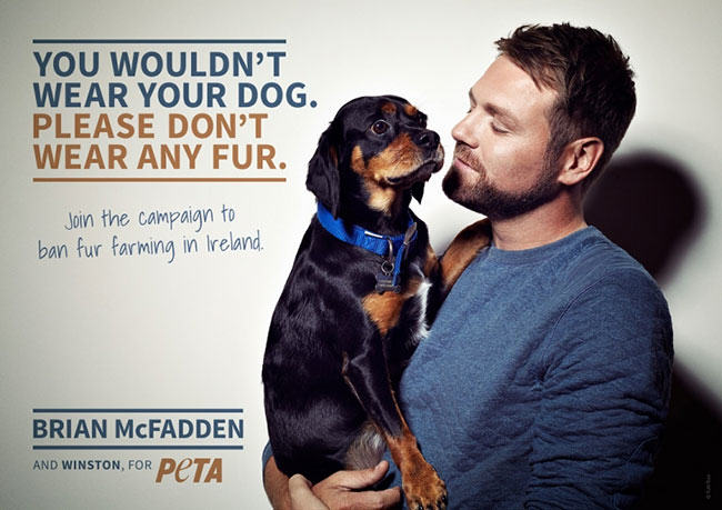 Brian McFadden, hypocrite, Peta, fur