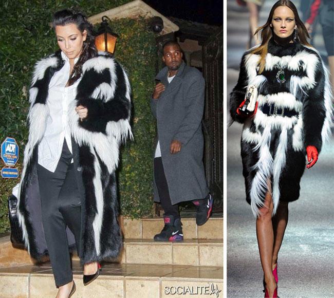 Kim Kardashian, skunk, Lanvin, skunk fur