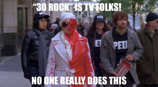red paint, tina fey, fur, PETA, 30 Rock