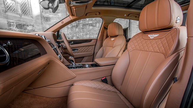 mushroom leather seats in a Bentley