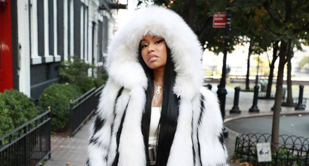 Nicki Minaj wears fur by Oscar de la Renta