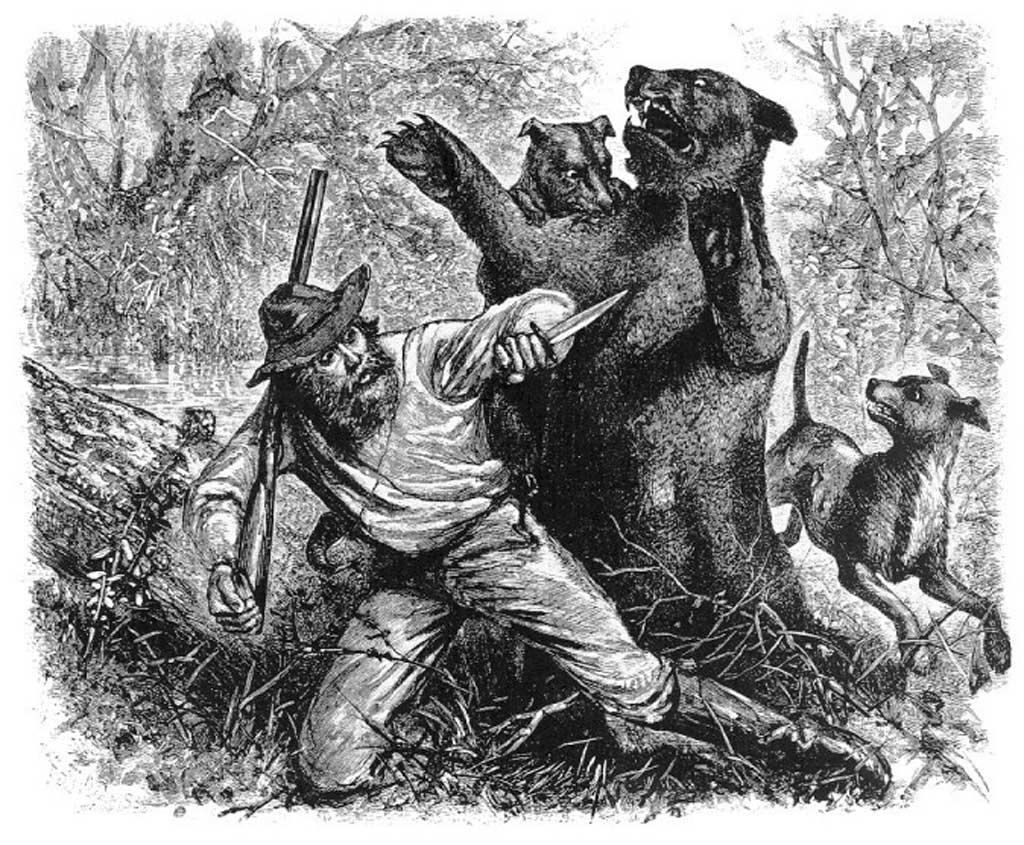 Hugh Glass fighting a bear