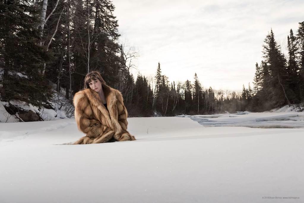 Katie Ball in fox coat