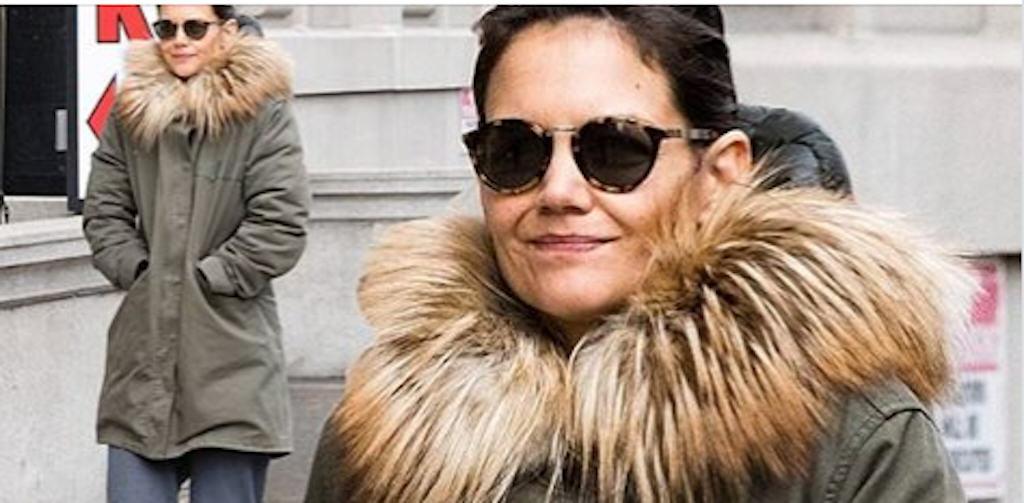 Katie Holmes in natural fur
