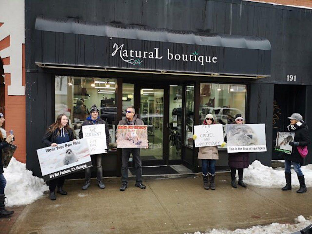 anti-fur protesters at Natural Boutique