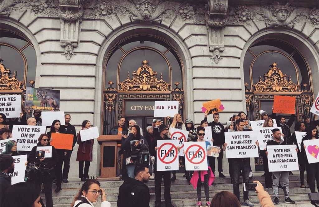 San Francisco anti-fur protesters