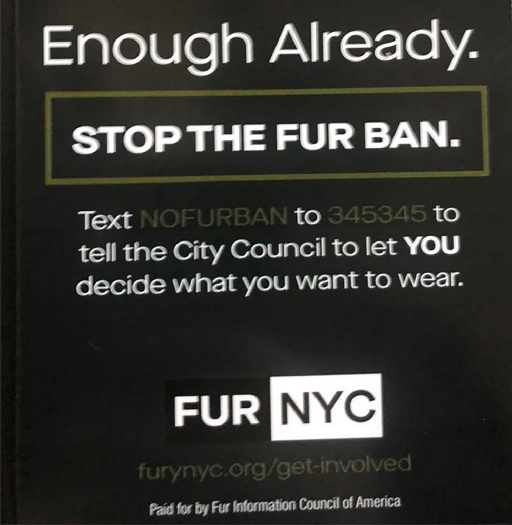 FUR NYC opposes fur ban